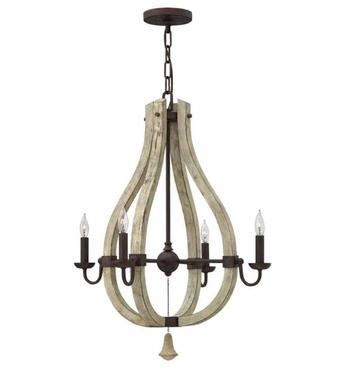 Wood and Iron Rust 4 Light Middlefield Wine Barrel Chandelier by Hinkley Lighting FR40574IRR4