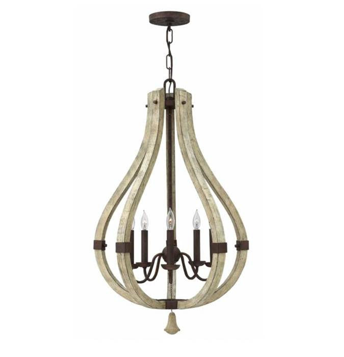 Wood and Iron Rust 5 Light Wine Barrel Chandelier by Hinkley Lighting FR40575IRR