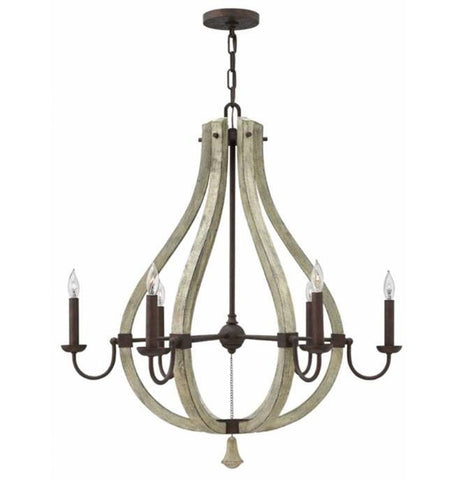 Wood and Iron Rust 6 Light Middlefield Wine Barrel Chandelier by Hinkley Lighting FR40576IRR