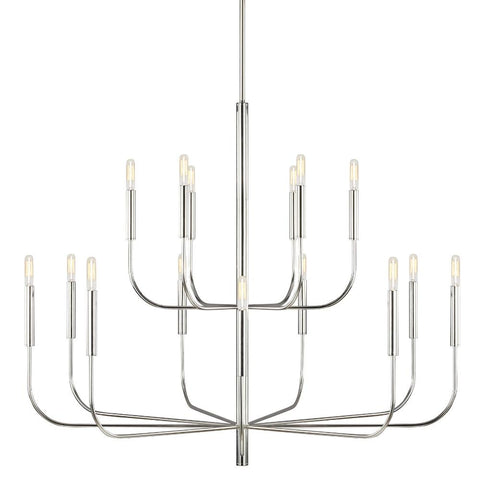 Brianna Chandelier, 15-Light Chandelier, Polished Nickel