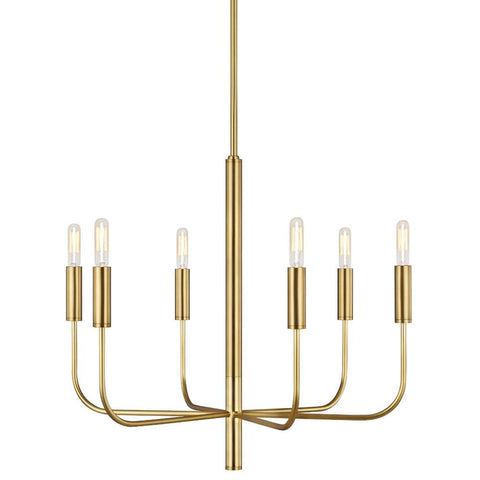 Fenella Chandelier, 6-Light Chandelier, Burnished Brass