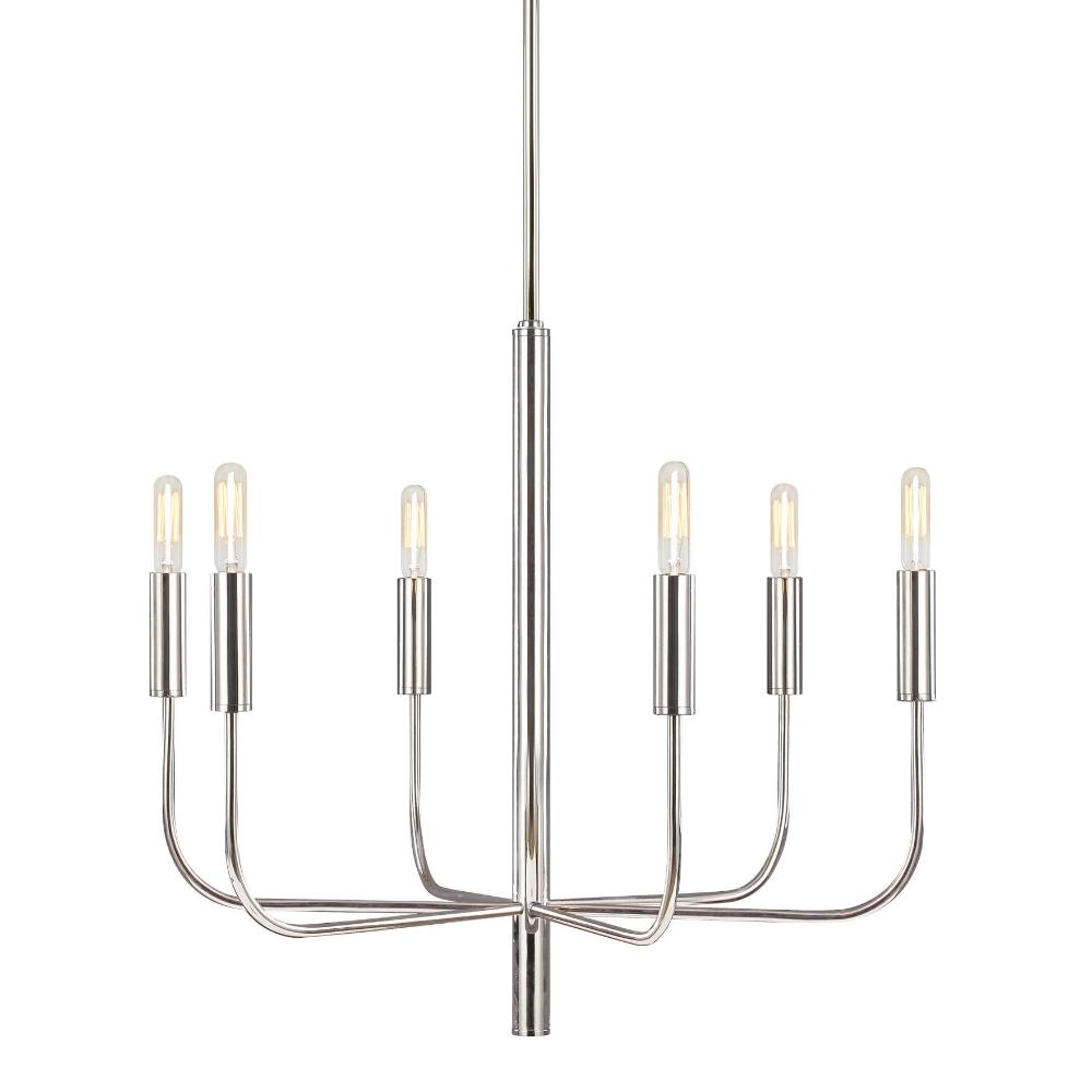 Fenella Chandelier, 6-Light Chandelier, Polished Nickel