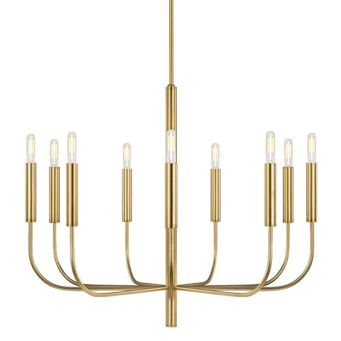Fenella Chandelier, 9-Light Chandelier, Burnished Brass