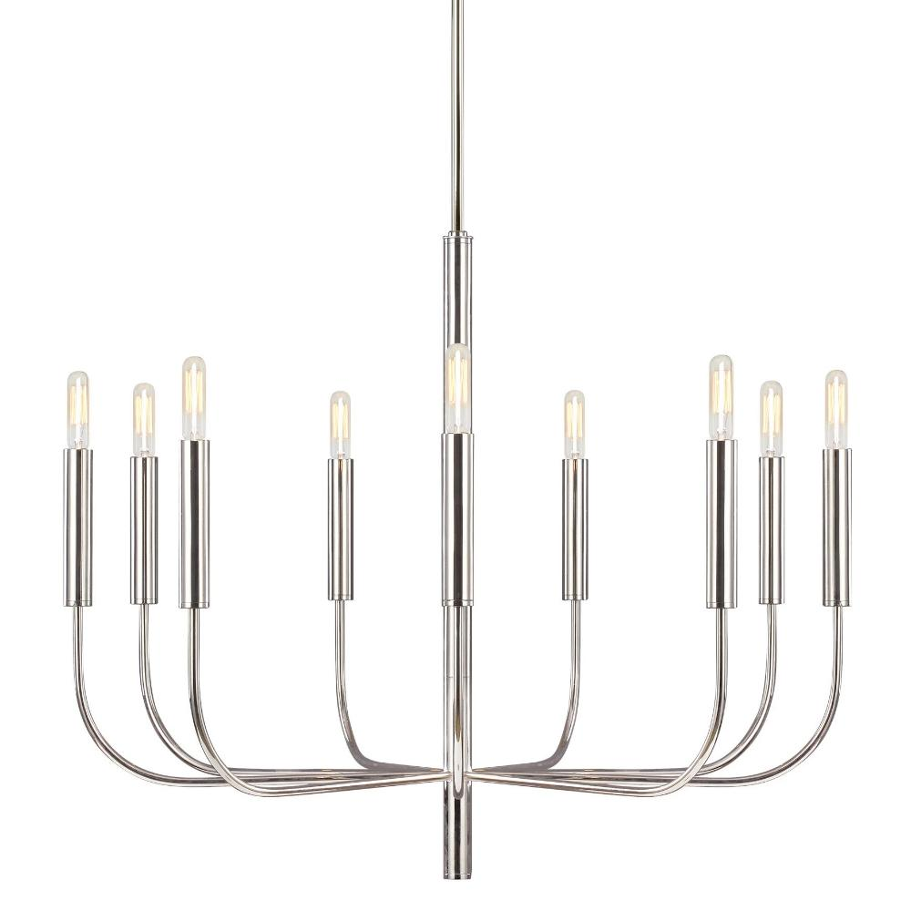 Fenella Chandelier, 9-Light Chandelier, Polished Nickel