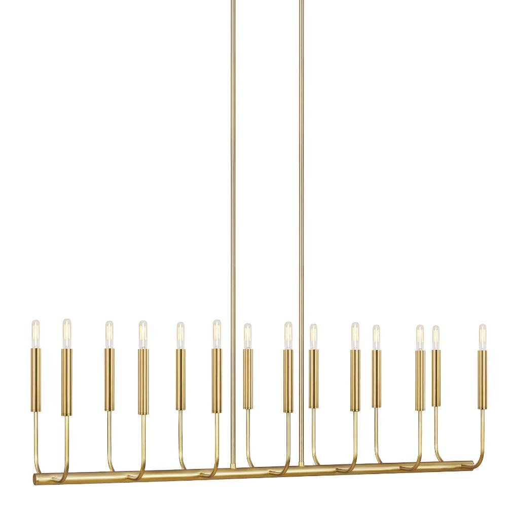 Brianna Linear Chandelier, 14-Light Chandelier, Burnished Brass
