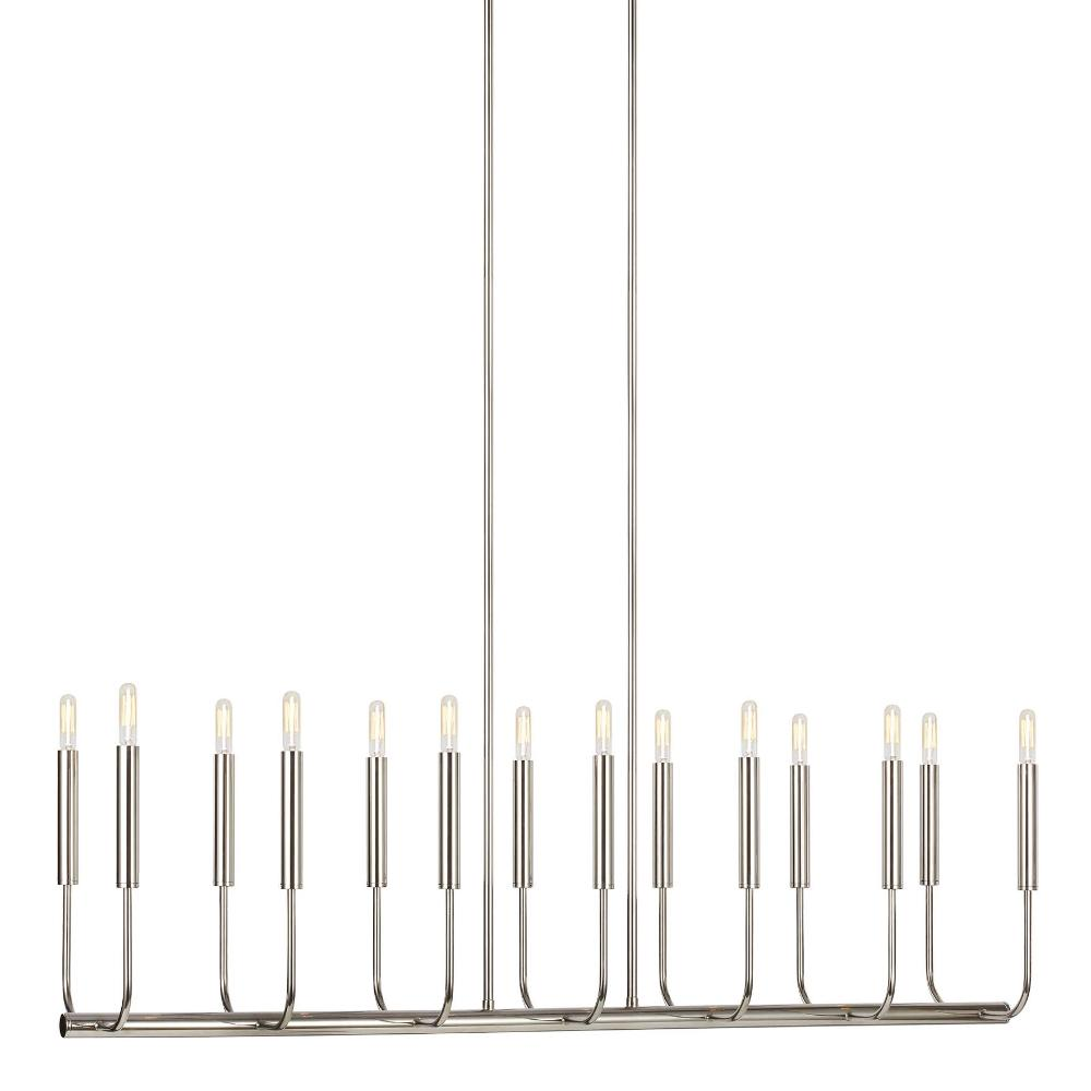 Brianna Linear Chandelier, 14-Light Chandelier, Polished Nickel