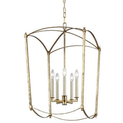 Thayer gold open cage lantern in guilded gold.