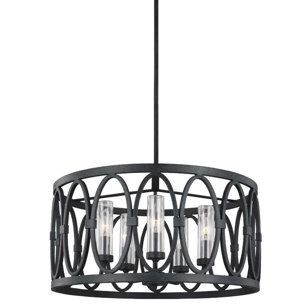 Patrice Drum Pendant, 5-Light Drum Pendant, Dark Weathered Zinc