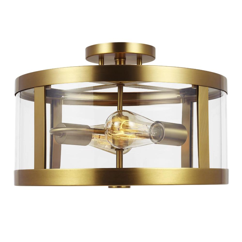 Harrow Ceiling Mount, 2-Light Semi-Flush Mount, Burnished Brass