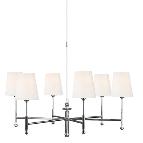 Capri Chandelier, 6-Light Chandelier, Polished Nickel