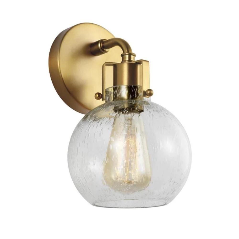 Clara Sconce, 1-Light Wall Sconce, Burnished Brass, Clear Seeded Glass