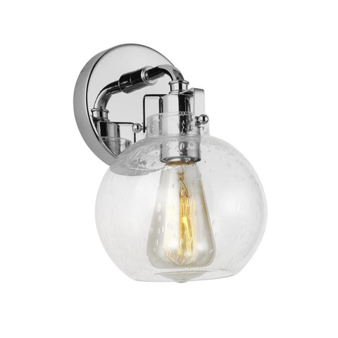 Clara Sconce, 1-Light Wall Sconce, Chrome, Clear Seeded Glass