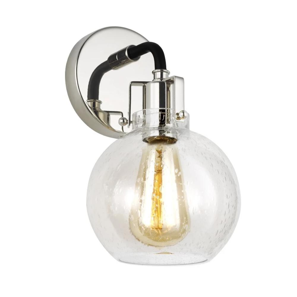 Clara Sconce, 1-Light Wall Sconce, Polished Nickel, Textured Black, Clear Seeded Glass