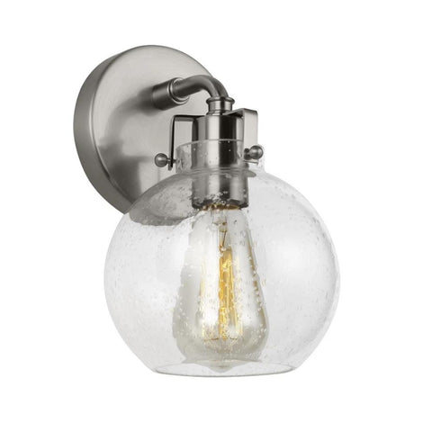 Clara Sconce, 1-Light Wall Sconce, Satin Nickel, Clear Seeded Glass