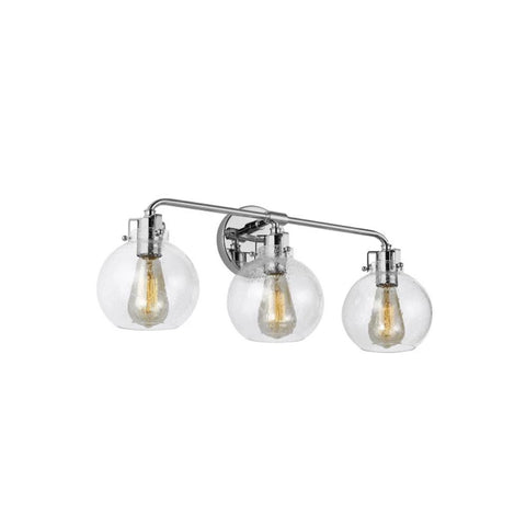 Clara Vanity, 3-Light Vanity, Chrome, Clear Seeded Glass