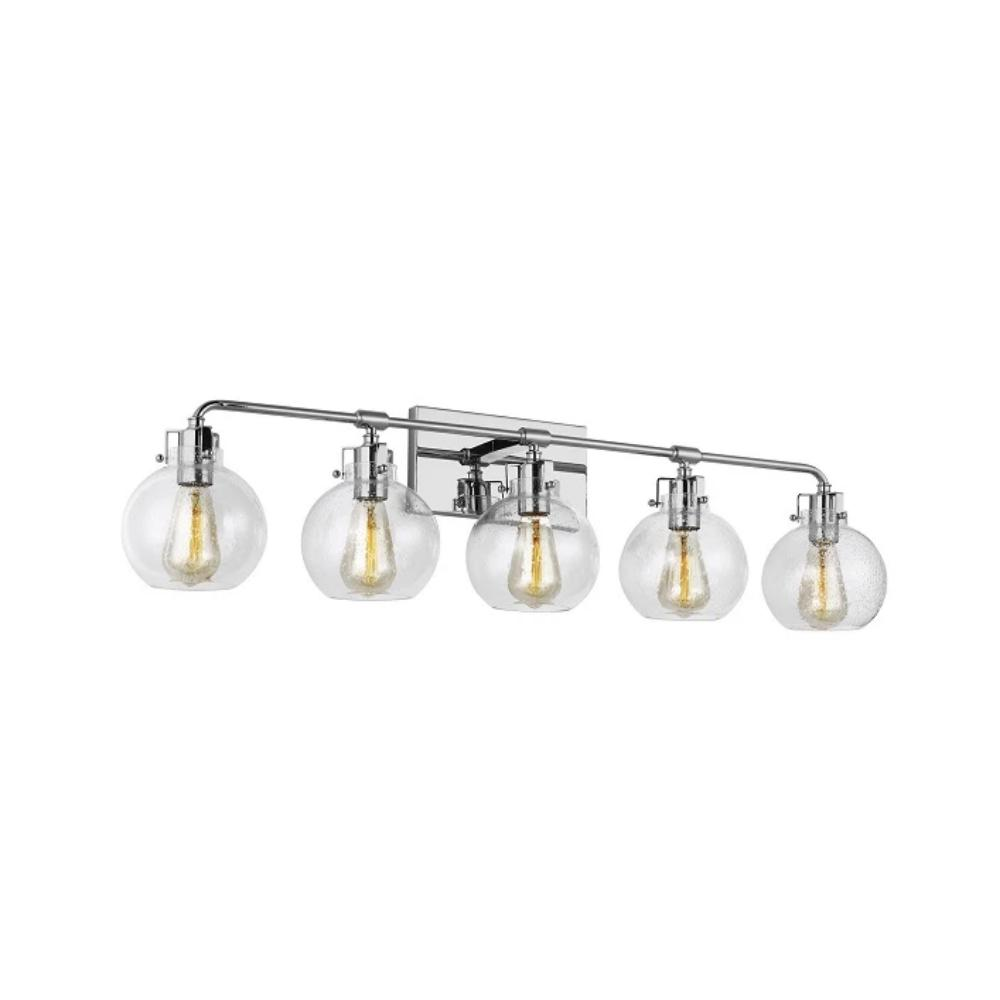 Clara Vanity, 5-Light Vanity, Chrome, Clear Seeded Glass