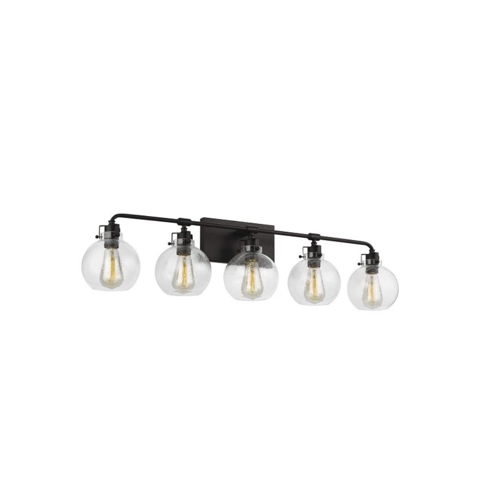Clara Vanity, 5-Light Vanity, Oil Rubbed Bronze, Clear Seeded Glass