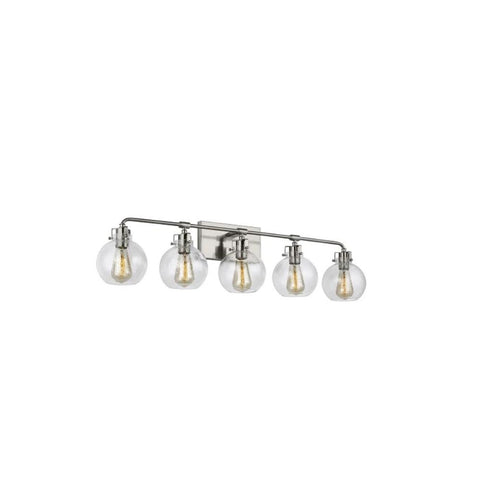 Clara Vanity, 5-Light Vanity, Satin Nickel, Clear Seeded Glass