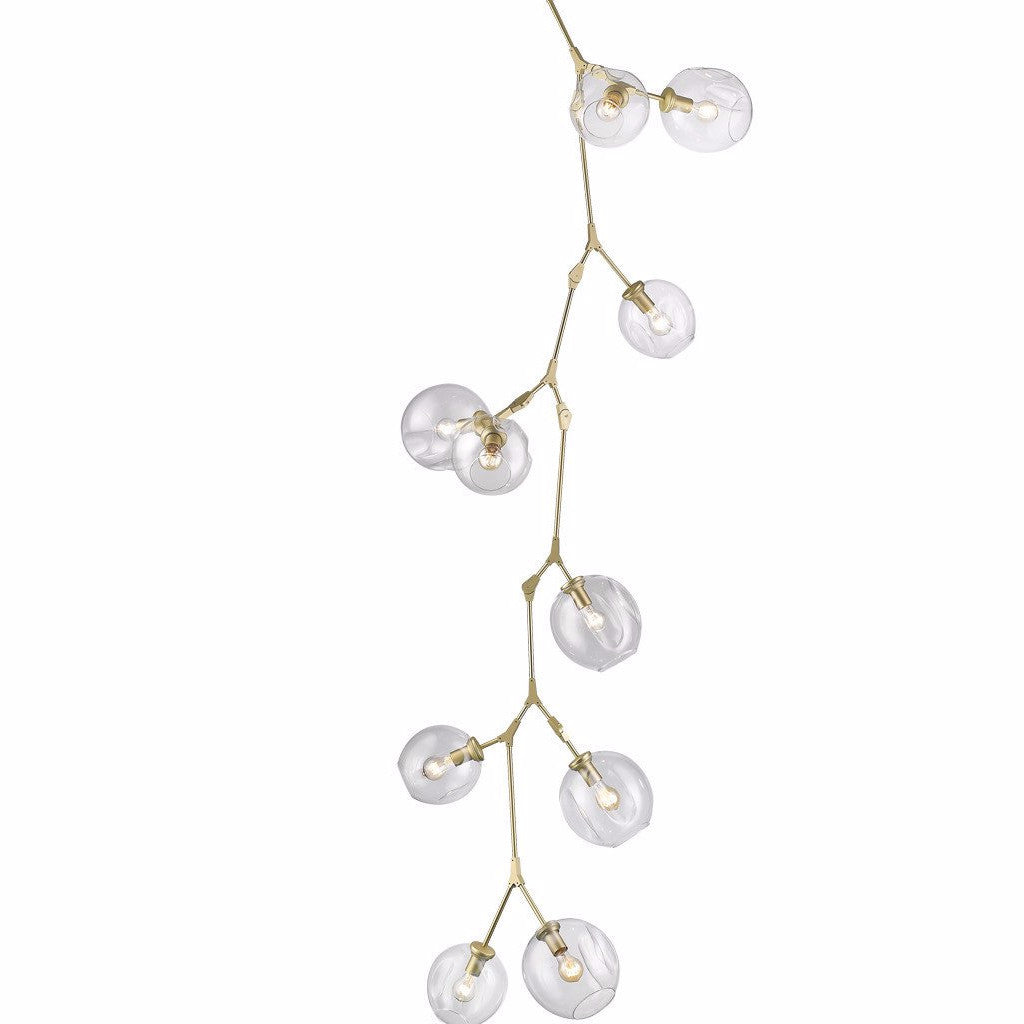 Fairfax 10 light Cascade Cluster Pendant by Avenue Lighting in Brushed Brass HF8080BB