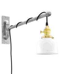Fargo Galvanized Swing Arm Sconce with White Shade by Barn Light BLE-L-WL008-SHADE 200-ARM 975-CSB-UK