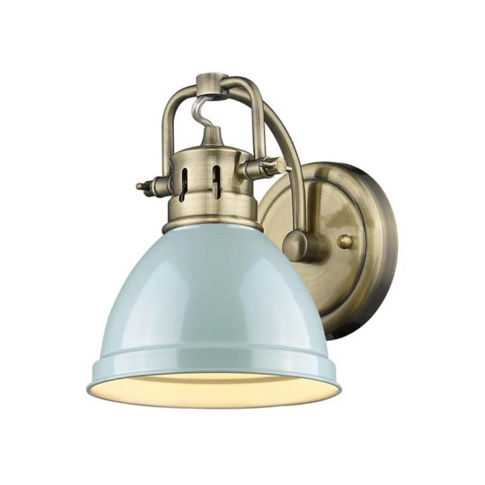 1 Light Duncan Bath Light in Brass with Sea Foam Shade by Golden Lighting 3602-BA1 AB-SF