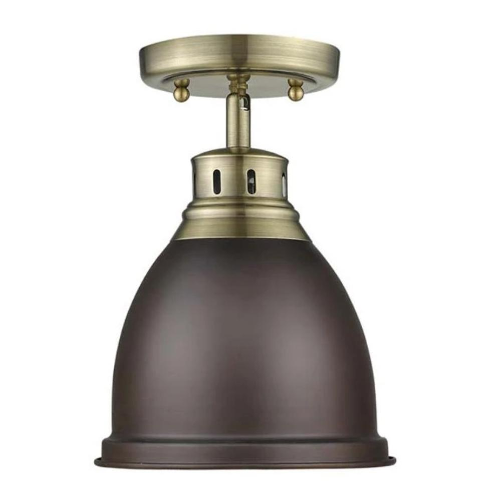 Duncan Semi Flush in Brass with Rubbed Bronze Shade by Golden Lighting 3602-FM AB-WH