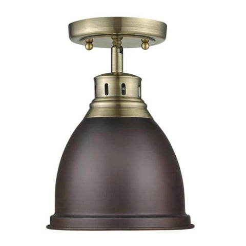 Duncan Semi Flush in Brass and Rubbed Bronze 3602-FM AB-WH