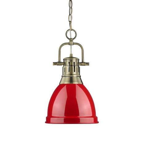 Duncan Small Pendant with Chain, Aged Brass, Red Shade