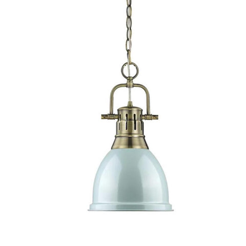 Duncan Small Pendant with Chain, Aged Brass, Seafom Shade