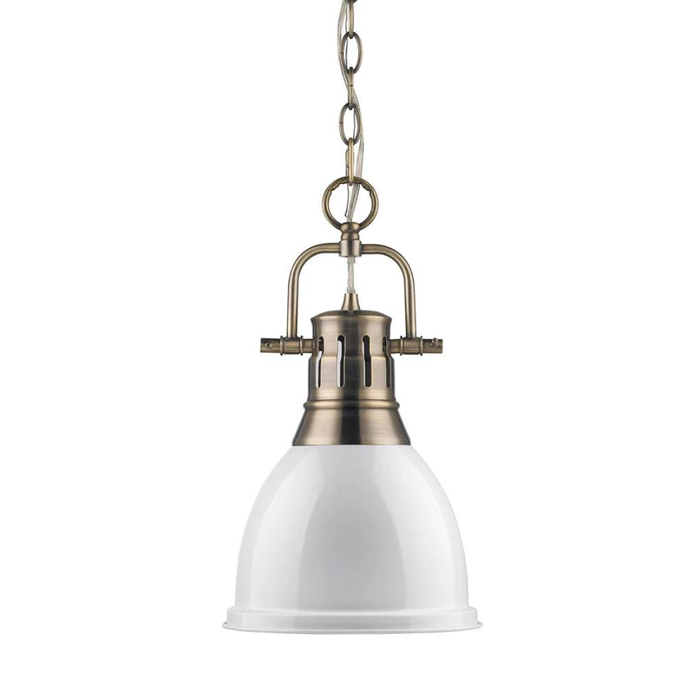 Duncan Small Pendant with Chain, Aged Brass, White Shade
