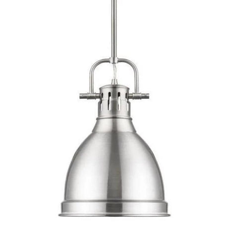 Duncan Small Pendant with Rod, Pewter, Pewter Shade