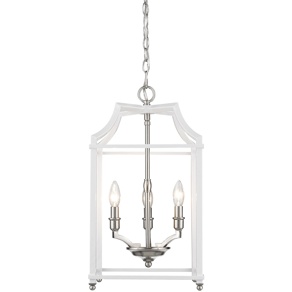 Leighton 3 Light Chandelier in Pewter/ White by Golden Lighting 8401-3P PW-WH