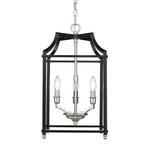 Leighton 4-Light Chandelier in Pewter/Black, by Golden Lighting,