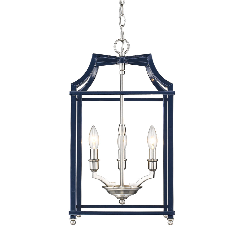 Leighton 4 Light Chandelier in Pewter/ Navy by Golden Lighting 8401-3P PW-NVY