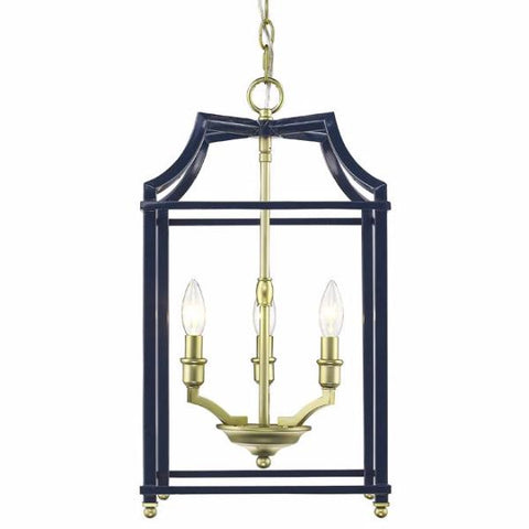Leighton 3 Light Chandelier in Satin Brass/ Navy by Golden Lighting 8401-3P SB-NVY