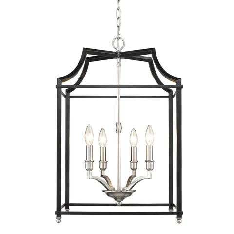 Leighton 4 Light Chandelier in Pewter/ Black by Golden Lighting 8401-4P PW-BLK