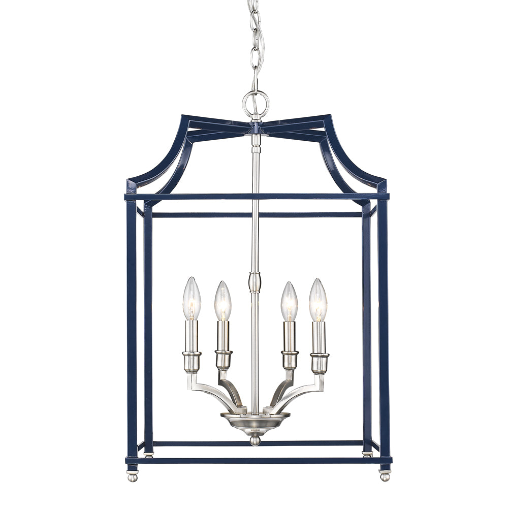 Leighton 4 Light Chandelier in Pewter/ Navy by Golden Lighting 8401-4P PW-NVY