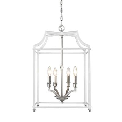 Leighton 4 Light Chandelier in Pewter/ White by Golden Lighting 8401-4P PW-WH