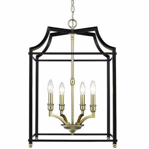 Leighton 4 Light Chandelier in Satin Brass/ Black by Golden Lighting 8401-4P SB-BLK