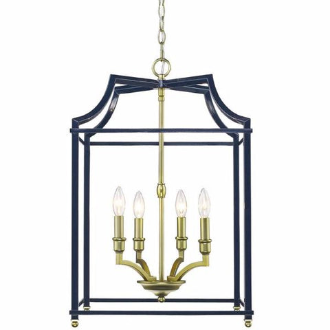 Leighton 4 Light Chandelier in Satin Brass/ Navy by Golden Lighting 8401-4P SB-NVY
