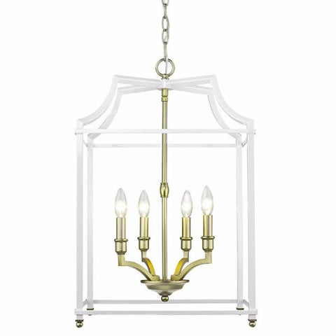 Leighton 4-Light Chandelier in Satin Brass/White, by Golden Lighting, 8401-4P SB-WH
