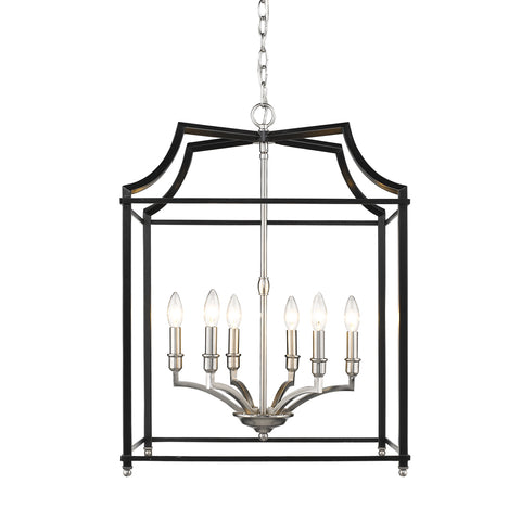 Leighton 6-Light Chandelier in Pewter/Black, by Golden Lighting, 8401-6P PW-BLK