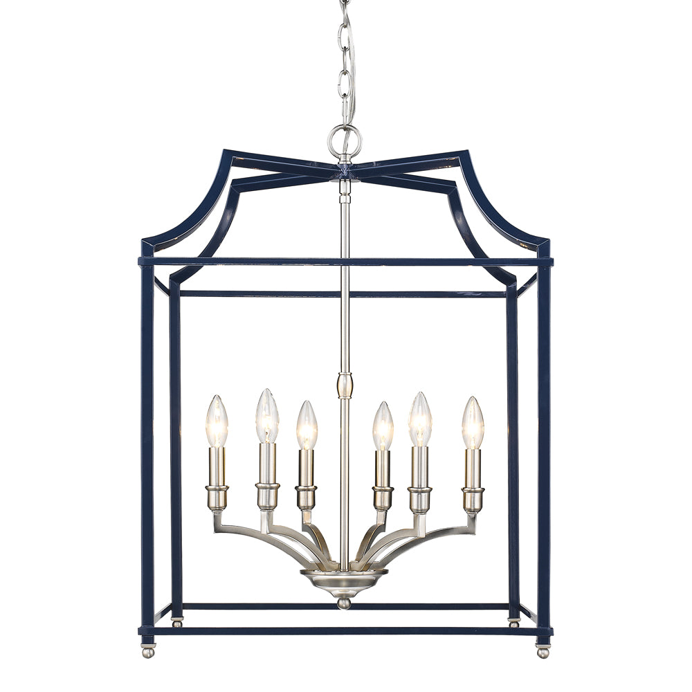 Leighton 6-Light Chandelier in Pewter/Navy, by Golden Lighting,GL-8401-6P PW-NVY
