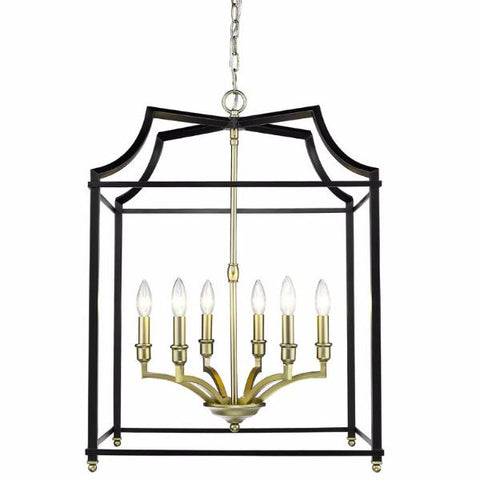 Leighton 6-Light Chandelier in Satin Brass/Black, by Golden Lighting, GL-8401-6P SB-BLK