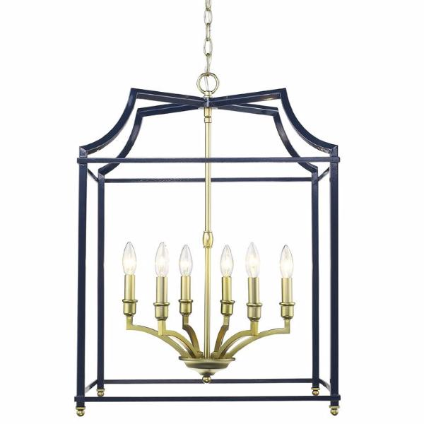 Leighton 6 Light Chandlier in Satin Brass/ Navy by Golden Lighting 8401-6P SB-NVY