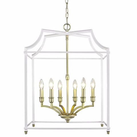 Leighton 6-Light Chandelier in Satin Brass/White, by Golden Lighting, 8401-6P SB-WH