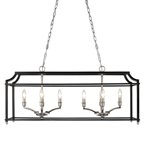 Leighton Linear Chandelier in Pewter/Black, by Golden Lighting, GL-8401-LP PW-BLK