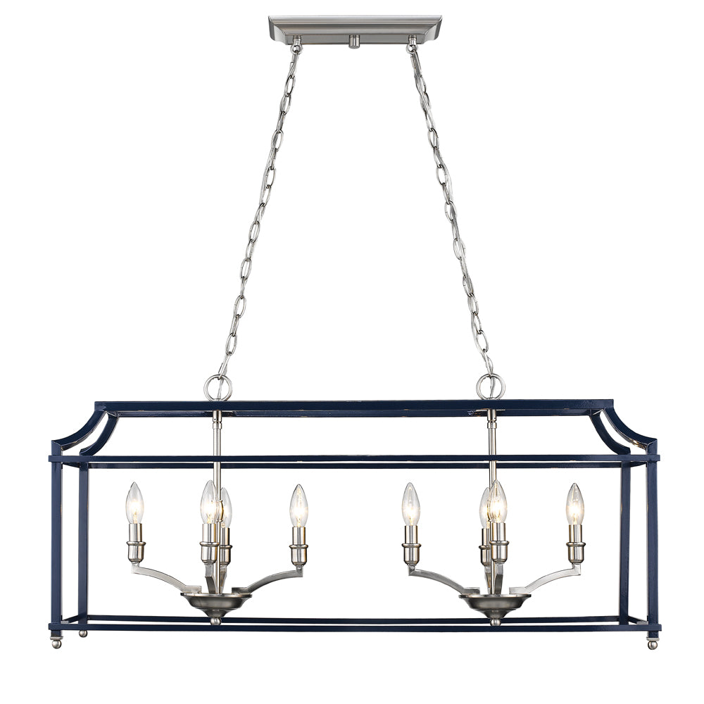 Leighton Linear Chandelier in Pewter/Navy, by Golden Lighting, GL-8401-LP PW-NVY