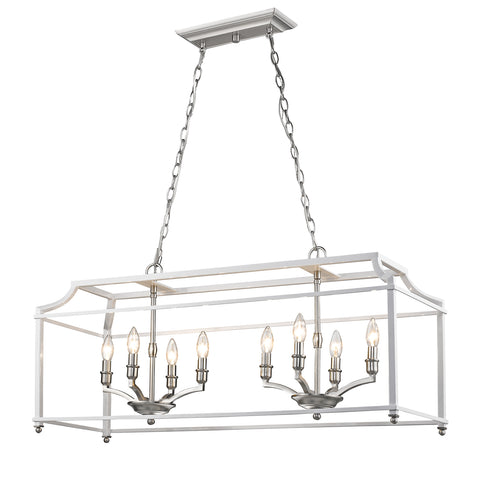 Leighton Linear Chandelier in Pewter/White, by Golden Lighting, GL-8401-LP PW-WH