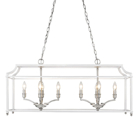 Leighton Linear Chandelier in Pewter/White, by Golden Lighting, 8401-LP PW-WH